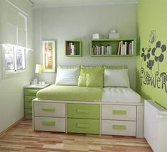 Admirable Teenage Girls Room Design Inspirations : Bright Green and White Wall Decor Teenage Girls Room Decorating with Small Bed and Wooden Floor