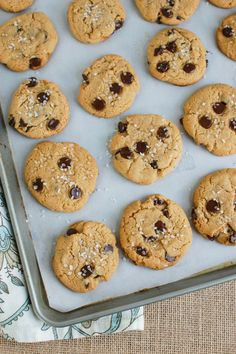 Sea Salt Chocolate Chip Cookies are a sweet and salty treat. These cookies are crunch on the outside and chewy on the inside. Sea Salt Chocolate, Vegetarian Chocolate, Sweet And Salty, Cookie Dough, Chocolate Chip Cookies, Nutella, Peanut Butter, Sweet Tooth, Deserts