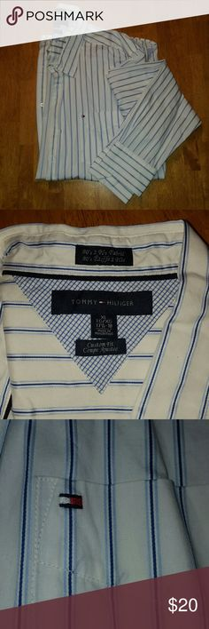 Tommy Hilfiger XL button down, long sleeved shirt Gently worn, excellent condition. XL long sleeved white button down with blue vertical stripes. Functional left front pocket. Tommy Hilfiger Shirts Casual Button Down Shirts