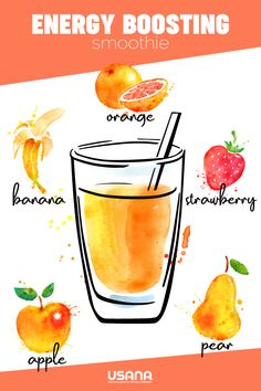 Energize your morning with the delicious taste of fresh apples, bananas, pears, strawberries, and oranges! Make your smoothie even more deliciously filling, by adding a scoop of USANA's French Vanilla Nutrimeal! #Smoothie #SmoothieRecipe #HealthyBreakfast #HealthyMeal #HealthyTreat #HealthySnack #EasyRecipes #EasySmoothieRecipes #FamilyNutrition #USANA #USANAShake #Nutrimeal #BreakfastShake #HealthyShake #Infographic