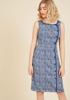 Classified Chic Sheath Dress in Ultramarine. This rich blue sheath dress shows you know the secret to style so sophisticated, only your closest connections can tap into your technique. #blue #modcloth