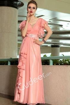 Ruffled Pink Pleated Chiffon V-neck Floor Length Evening Formal Dress