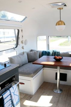 light and airy restored Airstream with neutral palette and modern details