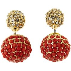 NATASHA Coral Double-Sided Stone Earrings ($13) ❤ liked on Polyvore featuring jewelry, earrings, stud earrings, druzy stone earrings, gold tone earrings, stone jewelry and studded jewelry