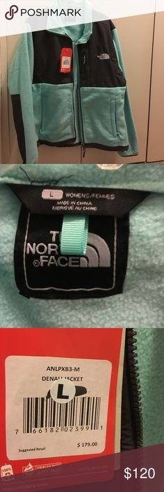 Authentic The North Face fleece Denali jacket Nwt Authentic The North Face black and mint green fleece Denali zip up jacket and zip front pockets size large.Retails for $179.00.Please no Lowball offers I'm open to reasonable offers and will consider reasonable offers.Any questions please ask The North Face Jackets & Coats