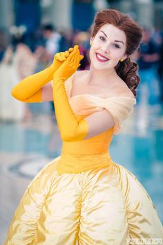 Disney´s Animation Movies: The Beauty & The Beast. Character: Belle. Version: Ball Dress. Cosplayer: Miss Kit Quinn. Event: Comikaze 2015. Photo: York In A Box. Events: D 23, 2015.