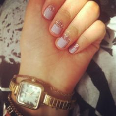 Glitter Half-Moon Nails How-To