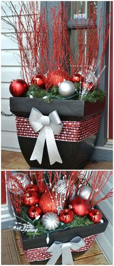 holiday decorations Christmas Outside Planter for Front Porch. Use a big flower pots as a base, and fill them with evergreen garland, huge ornaments, sparkly twigs and white lights! A package full of sparkle! They look very pretty all lit up at night too! Outside Christmas Decorations, Diy Christmas Lights, Christmas Home, Christmas Crafts, Front Porch Ideas For Christmas, Christmas Vases, Christmas Lights Outside, Christmas Island, Snowman Decorations