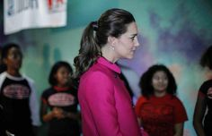 """Kate's Hair, Dec, 2014...During a visit to a youth community center, Middleton tossed her hair into a polished ponytail. """"Before you put your hair into a ponytail, do a little backcombing on top, just about an inch from the hairline."""" Kennedy suggests....""""Then, run a boar-bristle brush through hair to smooth it before you put it into a ponytail; """" This technique creates more height, and wrapping hair around the elastic makes the ponytail look more intentional."""