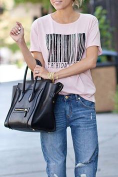 Love the Barcode! Weekend Casual Barcode Print Short Sleeve T-Shirt #Chic  #Comfy #Weekend #Casual #Outfit #Ideas