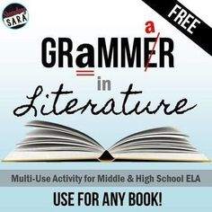 Free - Activities to collect sentences from literature that use different grammar concepts! Great for middle & high school English class & Common Core.