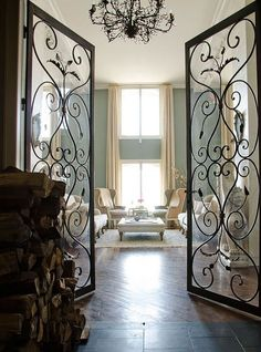 Wrought iron doors - I dont know where I would ever put them but these are so beautiful and elegant...