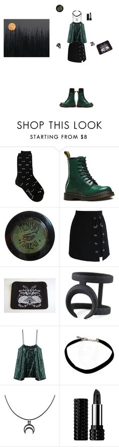 """""""Out there with the creatures in the woods"""" by flayedlady ❤ liked on Polyvore featuring Kenzo, Dr. Martens, Sourpuss, Chicwish and Kat Von D"""