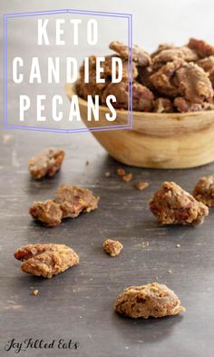 These 3 Ingredient Stovetop Glazed Pecans are simple to make, sugar-free, and delicious to munch on. Keto glazed pecans add flavor and texture to salads, ice cream, desserts, and more. This easy recipe is low carb, keto, gluten-free, grain-free, dairy-free, sugar-free, and Trim Healthy Mama friendly. Desserts For A Crowd, Low Carb Desserts, Delicious Desserts, Dessert Recipes, Glazed Pecans, Keto Candy, Joy Filled Eats, Gluten Free Grains, Low Carb Keto