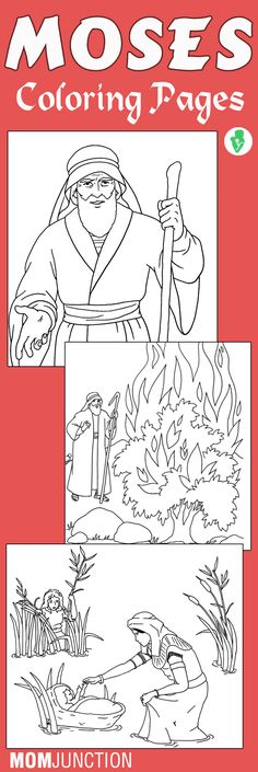 Top 10 Moses Coloring Pages For Your Little Ones: These coloring sheets depict the important occurrences in Moses' life like holding the tablets and parting the Red sea.