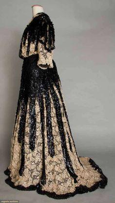 Sequin & lace reception gown   Augusta Auctions   c. 1905