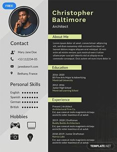Show the recruiters that you keep up with the latest technology by using our modern resume template. Modern Resume Template, Resume Template Free, Free Resume, Cv Design Template Free, Word Doc, Apple Mac, Architect Resume, Architect Logo, Architect House