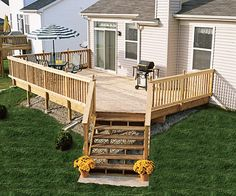 Backyard deck white wooden, backyard design ideas, backyard deck ideas ...