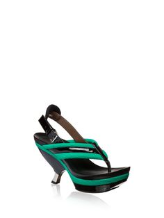 MARNI Sandal in padded techno net. Thong in padded techno net with contrasting-colored string in patent leather, same as the sling-back with lateral buckle in metal. Hour-glass heel covered with patent and mirror. Shaped platform covered with patent.