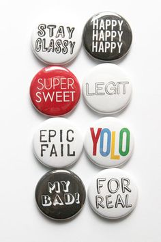 Just Words Flair by aflairforbuttons on Etsy