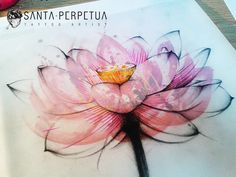 lotus flower graphic style tattoo drawing by Santa Perpetua tattoo artist, via Flickr