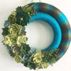 Felt succulent double yarn wreath by wiltedrosewreaths on Etsy