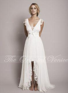 vintage lace boho wedding dress 2017 gipsy deep v neck high low beach wedding dresses summer bridal gowns chiffon hi lo little white dresses