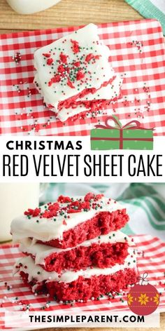 This easy to make Red Velvet Sheet Cake is a great dessert option for Christmas parties or as an alternative Christmas dessert to pie! Great Desserts, Cookie Desserts, Christmas Desserts, Christmas Baking, Christmas Recipes, Easy Christmas Dinner, Christmas Parties, Christmas Eve, Christmas Ideas