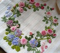 Wonderful Ribbon Embroidery Flowers by Hand Ideas. Enchanting Ribbon Embroidery Flowers by Hand Ideas. Hardanger Embroidery, Hand Embroidery Stitches, Silk Ribbon Embroidery, Hand Embroidery Designs, Embroidery Techniques, Cross Stitch Embroidery, Embroidery Patterns, Bullion Embroidery, Embroidery Tattoo