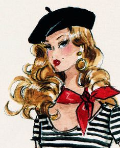 """""""The Artist"""" Barbie Fashion Illustration by Robert Best. Barbie Fashion Sketches, Beret Rouge, Barbie Drawing, Barbie Painting, Silhouette Mode, Mode Poster, The Artist, Oui Oui, Parisian Chic"""