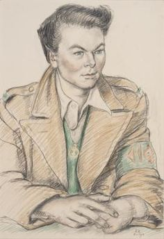 Hilda Harrison 1888–1972 A Land Girl, 1942, chalk, IWM ART LD 2940