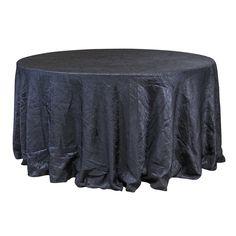"Economy Crush Taffeta 132"" Round Tablecloth - Black"