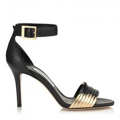 bbcca8ba61d Jimmy Choo Livvi 85 Black Nappa and Gold Mirror Leather Sandals