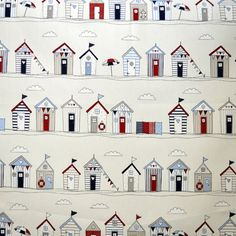 Seaside themed beach hut fabric perfect for creating a summery nautical themed bedroom Seaside Bedroom, Seaside Theme, Nautical Theme, Seaside Wallpaper, Pvc Fabric, Cotton Fabric, Curtain Fabric, Curtain Material, Blue Fabric