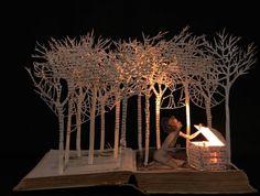Pandora Opens Box - Portfolio Book-Cut Sculpture by Su Blackwell Atelier Theme, Altered Book Art, Portfolio Book, Book Sculpture, Paper Sculptures, Up Book, Paper Book, 3d Paper, Book Projects