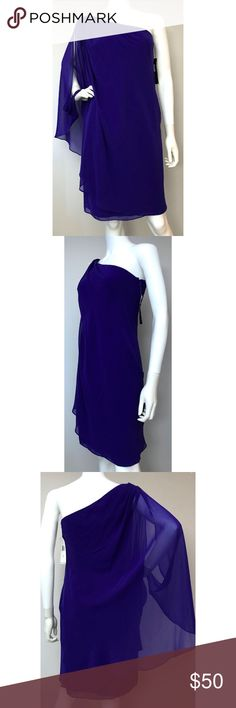 """NEW Ralph Lauren One Shoulder Purple Dress 6 100% Polyester  Bust 30"""" Length 37""""  #547 Lauren Ralph Lauren Dresses Midi"""