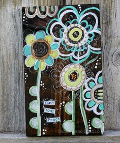 Whimsical Funky Flower Painting on Stained Wood by SadieLaneStudio, $29.00