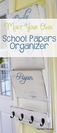 DIY:  How To Make Your Own School Papers Organizer - this is an Ana White project (PB inspired) that has the plans on the link.