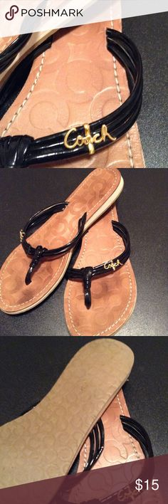 Coach flat sandals Black skinny straps with gold coach logo. Coach signature imprint sole. Size 8. Shoes Sandals