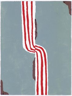 Richard Aldrich      Syd stripe split, 2005  Oil and wax on canvas  40.5 x 30.5cm