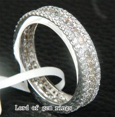 Princess/Round Cut 3.16CT Diamond Real 18K White Gold by EasyGem, $2330.00