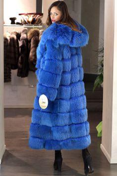 dyed blue hooded fox fur coat | eBay