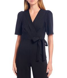 Kelly Surplice V-Neckline Puff Sleeve Tie Waist Stretch Crepe Jumpsuit #Sponsored #Puff, #Ad, #Sleeve, #Neckline Korean Fashion Casual, Antonio Melani, Dillards, Hemline, Wrap Dress, Jumpsuit, Pullover, Tie, Sleeves