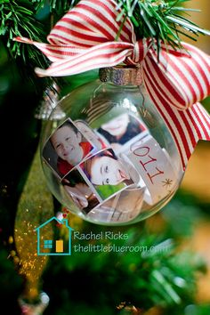 How cute! Print off little pictures of the family and stuff them with the year in a clear ornament.  SOOOO cute!  Wonderful idea....I also saw putting your child's wish list w/yr. in these clear ornaments