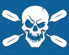 Skull Oars Style 2 Vinyl Decal Sticker Kayak Canoe Paddles Pirates