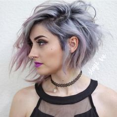 Lavender Toned Silver Ombre Hair | Beautiful Silver Ombre Hairstyles For Short Hair