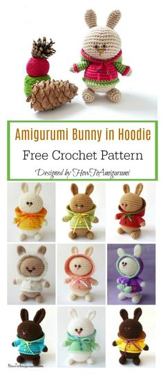 Crochet Rabbit Amigurumi Bunny in Hoodie Free Crochet Pattern - The Amigurumi Bunny in Hoodie Free Crochet Pattern uses basic crochet stitch to make it a project easy even by beginners in this field. Crochet Bunny Pattern, Easter Crochet Patterns, Crochet Rabbit, Crochet Amigurumi Free Patterns, Crochet Motifs, Baby Knitting Patterns, Crochet Dolls, Free Crochet, Crochet Stitch