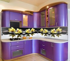 kitchen idea of the day: wow purple cabinets with photo-printed