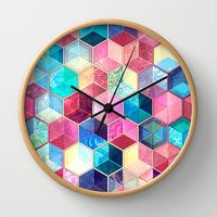 Wall Clocks featuring Topaz & Ruby Crystal Honeycomb Cubes by micklyn