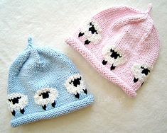 Knit a cute beanie ringed with woolly little lambs from this simple knitting pattern. Makes a great baby shower gift!